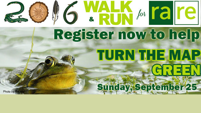 2016 WALK & RUN for rare Register now to help, TURN THE MAP GREEN, Sunday, September 25, frog in the pond